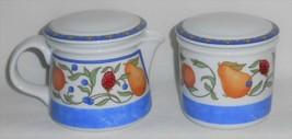 Dansk Fiance Fruits Pattern Creamer & Sugar w/Lids Blue Trim - $39.59