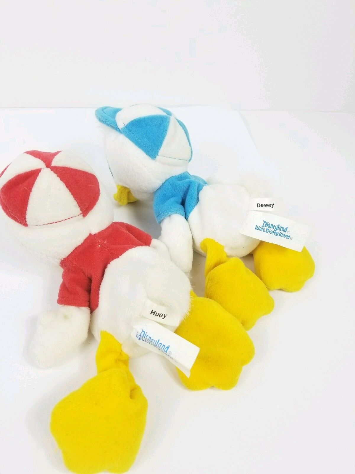 Disney Disneyland Vintage Huey Dewey Bean Bag Plush Toy Set 8 inch Ducks Lot