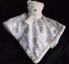 Blankets and & Beyond Blue White Bear Owl Lovey Security Blanket Pacifie... - $24.28 CAD