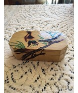 Wooden Box Bird Height is 1 1/2 inches  Length 4 3/4 inches  Width 2 1/2... - $12.45