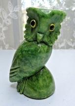 "VINTAGE CARVED GREEN STONE MARBLE ALABASTER OWL SCULPTURE GLASS EYES 4"" ... - $30.00"