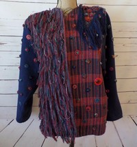 Crystal Handwoven Columbia Large Open Front Blue Red Fringed Button Plaid Jacket - $49.60