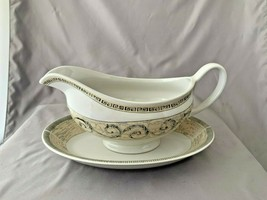 Set of Johnson Brothers Acanthus Blue & Cream Serving Pieces Gravy & Underplate - $29.69