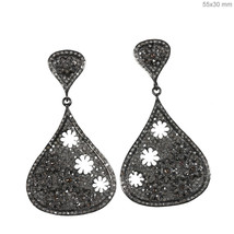 Natural Pave Diamond 925 Sterling Silver Flower Dangle Drop Earrings Jew... - $224.40