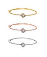 10K Sold Gold Round 0.63ct Real Diamond Halo Cluster Bangle Bracelet For... - $619.99