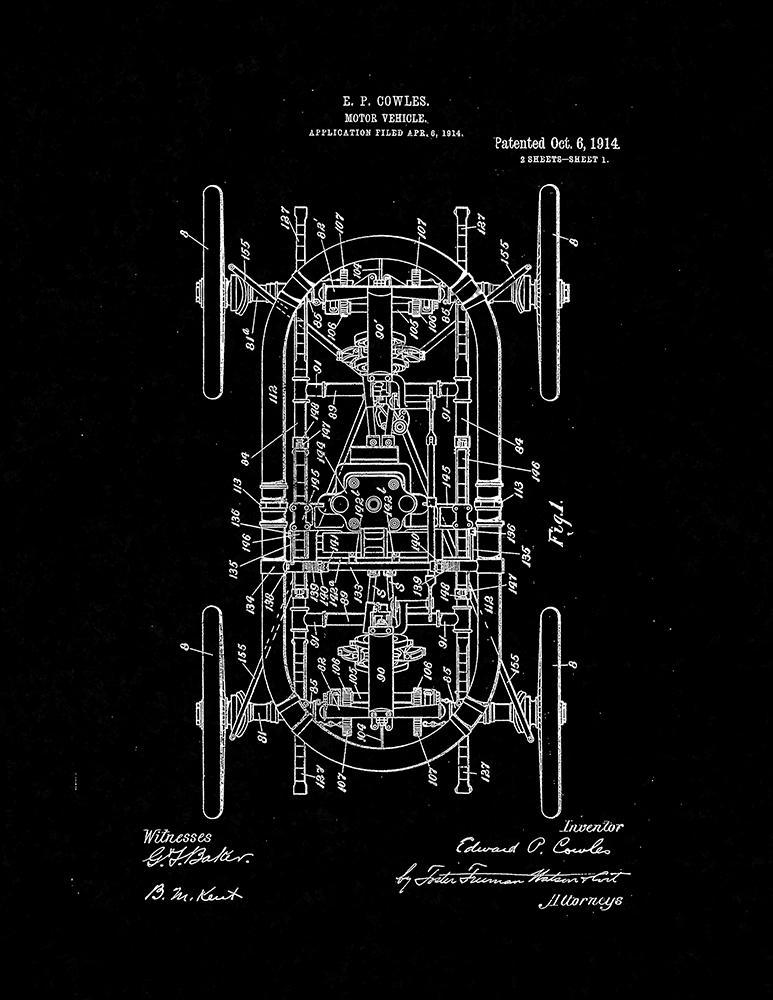 Primary image for Motor Vehicle Patent Print - Black Matte