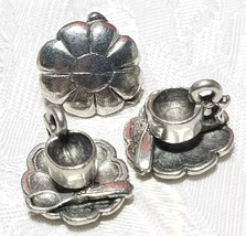 CUP AND SCALLOPED SAUCER FINE PEWTER PENDANT CHARM - 15mm L x 14mm W x 12mm D