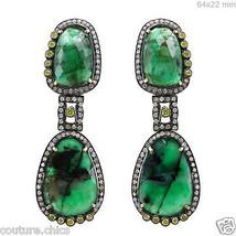Emerald Gemstone14 K Gold Pave Diamond Dangle Earrings .925 Silver Antiq... - $1,899.48