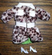 Vintage Barbie Francie Mod Outfit #1240 Vinyl & Faux Fur Pony Coat & Shoes  - $34.65