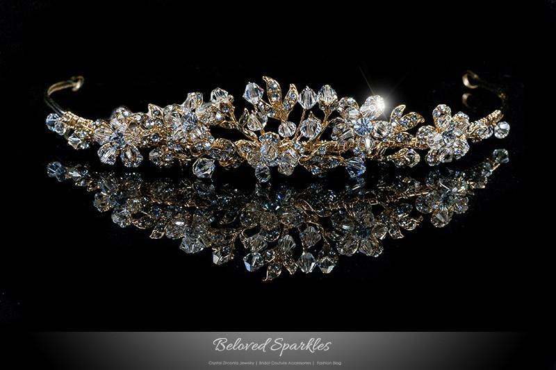 Ral flower cluster vintage reign victorian gold tiara crown wedding quinceanera hair accessories