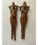 Lot Of 2 Vintage naked Woman Hand Carved Wooden NUTCRACKER Exotic - $164.89