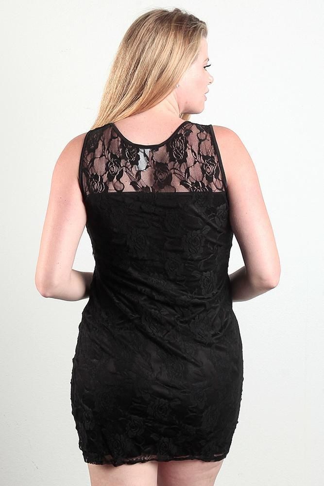 Womens Plus Size Bodycon Lace mini dress