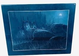Bradford Exchange Collectors Plate Tile Wolf Figurine Moon Shadow Moonlit Hunter - $28.98