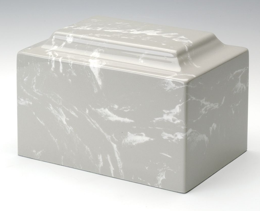Classic Cultured Marble Gray 25 Cubic Inches Funeral Cremation Urn, TSA Approved