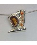 Pendant Chocolate Zircon Orange Sapphire 925 Silver Ladies Butterfly Des... - $94.05