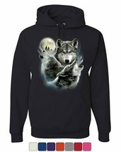 Howling Wolf Pack Hoodie Wild Wilderness Animals Nature Moon Sweatshirt - $21.96+
