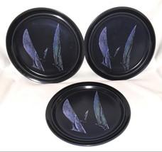 Noritake Spinnaker Dinner Plates 3 Vtg 70s MCM Blue Sailboat Primastone ... - $39.95