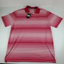 NEW NIKE Golf Dri Fit Tour Red and White Striped Mens Short Sleeve Polo Size XL - $18.80