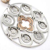 Collier Argent 925, Perles Rose, Médaillon Pendentif,Travaillé,Disque image 3