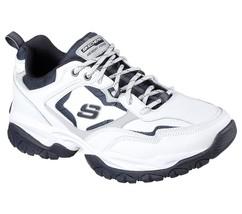 52700 W Wide Fit White Navy Skechers shoes Men Memory Foam Sport Comfort... - £31.59 GBP