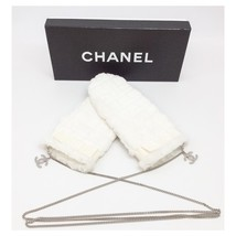 CHANEL Designer Chocolate Collection White Lapin Fur CC Logo Chain Mitte... - $741.99