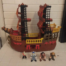 2006 Mattel Fisher Price Imaginext Adventures Pirate Ship Boat Brown Access - $59.39