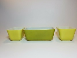 Vintage Pyrex Verde Green and Yellow 501 & 502 Refrigerator Dishes No Lids - $25.69