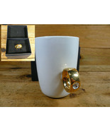 2 Carat Porcelain Cup Coffee Mug Diamond Ring Gold Fred Fun Gift with Box! - $12.00