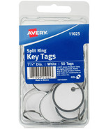 "NEW Avery Split Ring Key Tags, White, Metal Rim, 1.25"", 50/Pk - $10.35"