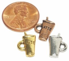 LATTE CUP FINE PEWTER PENDANT CHARM - 9mm x 14mm x 3mm image 3