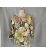 Additions by Chico's top tee Size 2 medium yellow multi floral 3/4 sleeves - $13.67