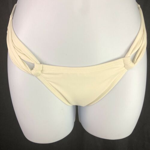 L Space Sensual Solids Side Loop Off White Cream Bikini Bottoms Womens  XS