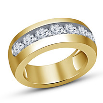 14K Yellow Gold Plated Mens Round Cut Diamond Wedding Engagement Pinky Band Ring - £52.57 GBP