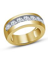 14K Yellow Gold Plated Mens Round Cut Diamond Wedding Engagement Pinky B... - $64.99