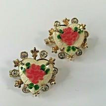 2 Vintage Elegant Enamel Rose Heart Brooch Rhinestone 1x1-39 - $26.61
