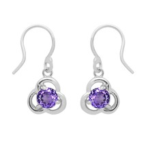 Three Petal Flower 925 Sterling Silver 6 MM Round Amethyst Celtic Dangle... - $15.77