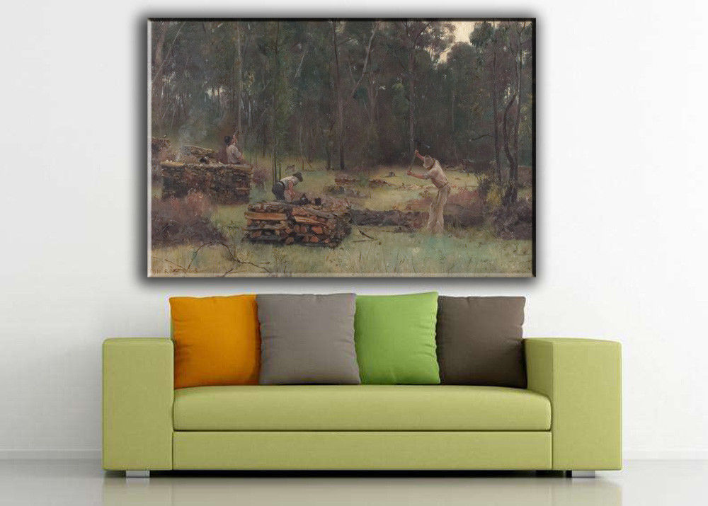 "Landscape Art Oil Painting Print On Canvas Modern Decor""Wood Splitters""Framed"