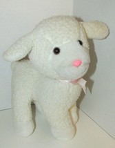 Enesco plush firm standing lamb sheep nubby fur pink bow older off-white... - $19.79