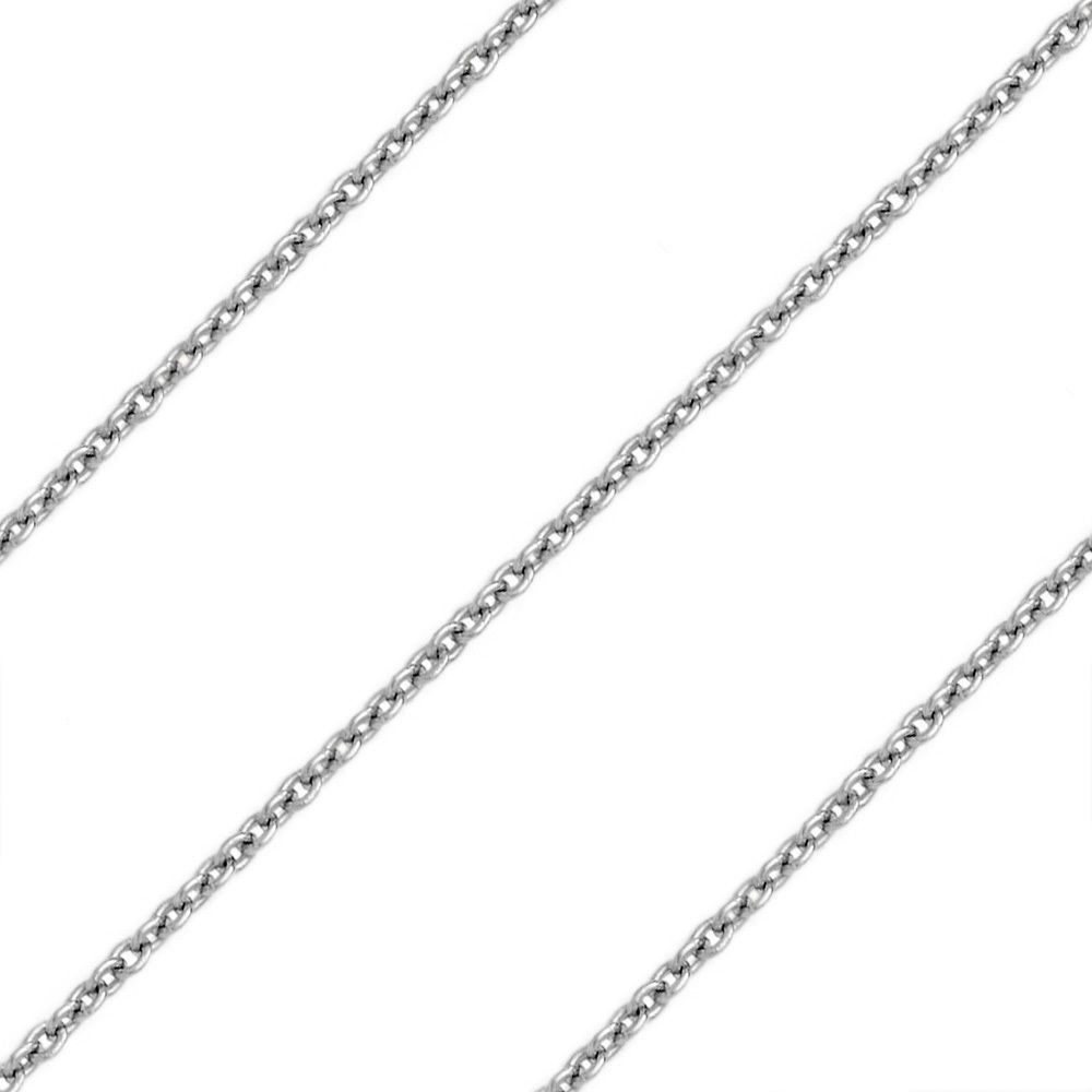 1.4mm 925 Sterling Silver Rhodium Plated Thin Cable Link Italian Chain Necklace