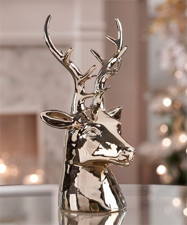 "11"" Porcelain Reindeer Head Design Figurine Champagne Gold Color - Majestic Look"