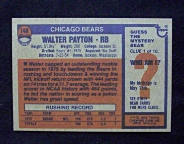 1976 Topps Football #148 Walter Payton [Chicago Bears] Rookie_ Repro