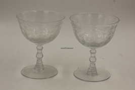 "2 Fostoria Navarre Clear Crystal 4 3/8"" Etched Champagne Low Sherbet Glass - $22.00"
