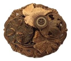 Vintage Button Cluster Brooch Pin Goldtone Antiqued 20258 - $13.99
