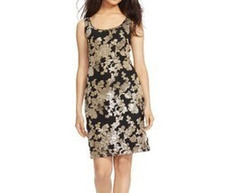 NWT Lauren Ralph Lauren Black/ Gold Sequined Sleeveless Sheath Dress $240 - €54,59 EUR