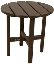POLYWOOD Patio Side Table 18 in. Stain Resistant Plastic Frame Mahogany ... - $104.94