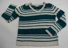ST JOHNS BAY WOMENS MEDIUM SWEATER GREEN & WHITE STRIPED LONG SLEEVED ST... - $10.09