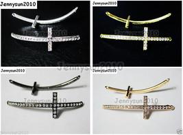10Pcs Skiny Curved Side Ways Crystal Rhinestones Cross Bracelet Connecto... - $3.42