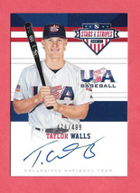 2017 Taylor Walls Panini USA Stars and Stripes Rookie Auto /499 - Tampa ... - $2.84