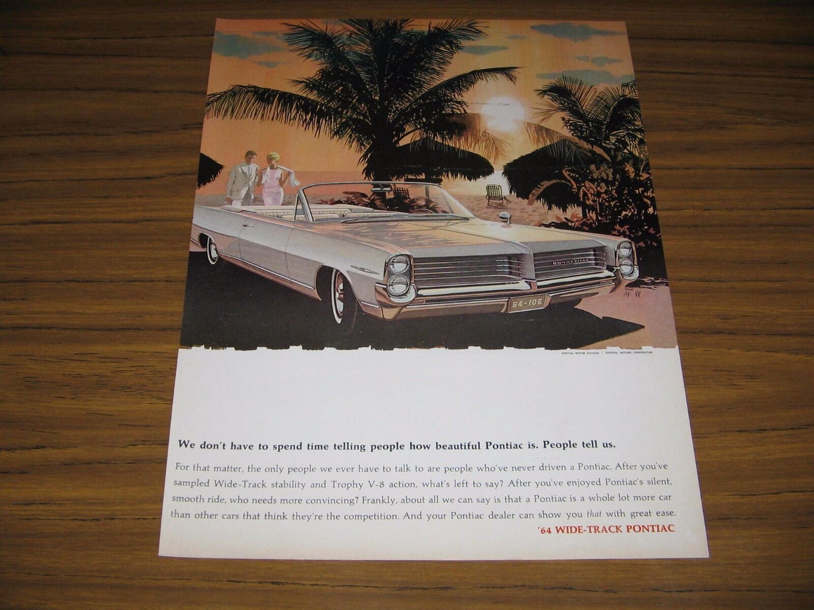 Primary image for 1963 Print Ad The 1964 Pontiac Bonneville Convertible Wide-Track Palm Trees