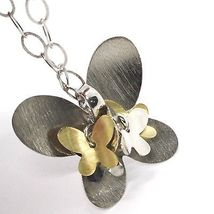 925 Silver Necklace, Oval Chain, Pendant Butterfly Large Panel Butterflies image 4